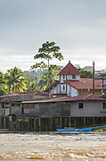 View of the exterior of stilt houses on the waterfront of the town of El Castillo, Rio San Juan Department, Nicaragua