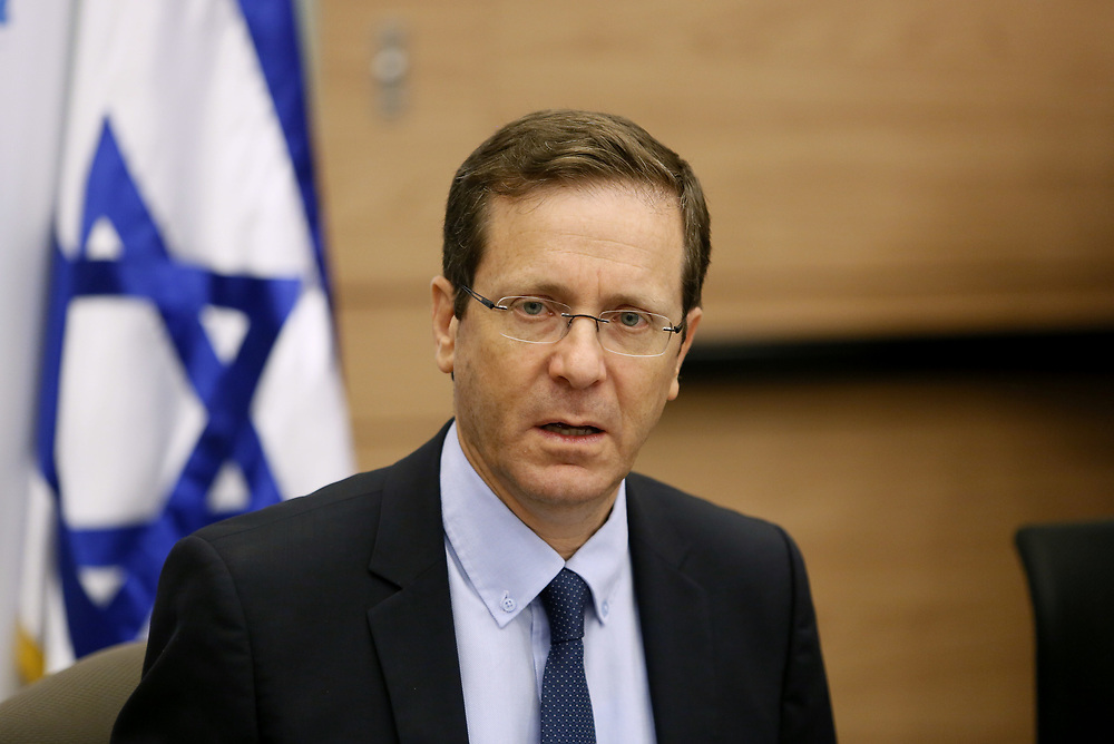 Zionist Camp leader Isaac Herzog during a faction meeting at the Knesset, Israel's parliament in Jerusalem, on June 6, 2016.