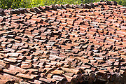 Traditional roof tiled with terracotta roof tiles in Spain