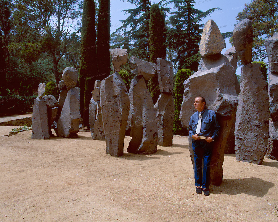 One of Europe's finest sculptors and artists, Xavier Corbero at a show of his work outside Barcelona at the botanical gardens of Cap Roig.