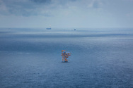 Aerial view of an oil rig offshore Vung Tau, Vietnam, Southeast Asia