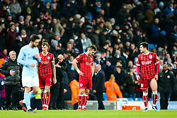 Bailey Wright of Bristol City looks dejected after Manchester City score in added time to win 2-1 - Rogan/JMP - 09/01/2018 - Etihad Stadium - Manchester, England - Manchester City v Bristol City - Carabao Cup Semi Final First Leg.