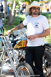 Chemical Candy's Scott Hoepker (aka Chemical Candy Randy) at the Born-Free Vintage Motorcycle show at Oak Canyon Ranch, Silverado, CA, USA. Sunday, June 23, 2019. Photography ©2019 Michael Lichter.