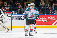 KELOWNA, CANADA - FEBRUARY 10: Leif Mattson #28 of the Kelowna Rockets skates against the Vancouver Giants on February 10, 2017 at Prospera Place in Kelowna, British Columbia, Canada.  (Photo by Marissa Baecker/Shoot the Breeze)  *** Local Caption ***