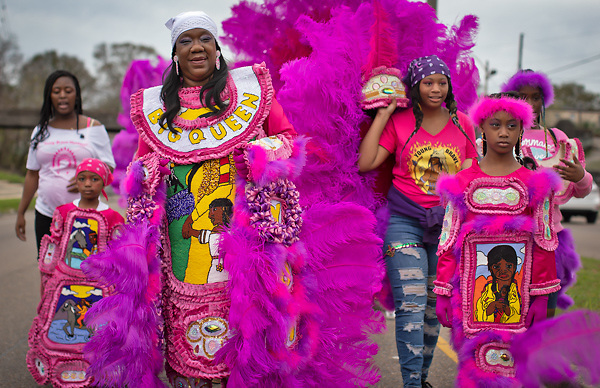 Mardi Gras Indians on Mardi Gras day in New Orleans.