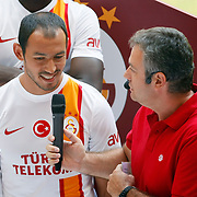 Turkish soccer team Galatasaray players Umut Bulut (L) pose during the presentation of the new uniform at the TT Arena in Istanbul Turkey on Wednesday, 18 July 2012. Photo by TURKPIX