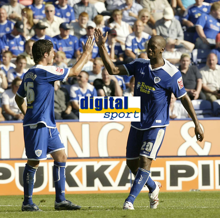 Photo: Aidan Ellis.<br /> Leicester City v Watford. Coca Cola Championship. 25/08/2007.<br /> Leicester's  Mark De Viers celebrates his goal and the fourth with other goalscorer Alan Sheehan