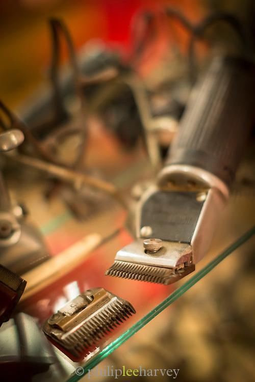 Close up of hairdresser equipment with old razors, Havana, Cuba