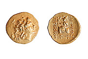 Ancient Greek gold coin 297-281 BCE. depicting  Alexander the Great and Athena