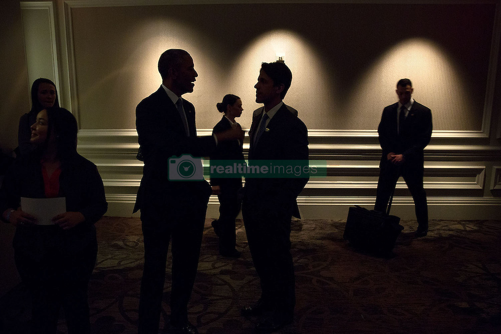 President Barack Obama speaks with David Simas, Director of the Office of Political Strategy and Outreach prior to a dinner in Washington, D.C., April 23, 2015. (Official White House Photo by Lawrence Jackson)<br /> <br /> This official White House photograph is being made available only for publication by news organizations and/or for personal use printing by the subject(s) of the photograph. The photograph may not be manipulated in any way and may not be used in commercial or political materials, advertisements, emails, products, promotions that in any way suggests approval or endorsement of the President, the First Family, or the White House.