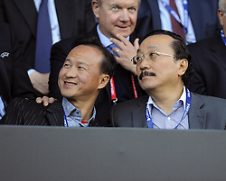Cardif City owner Vincent Tan with guests - Photo mandatory by-line: Joe Meredith/JMP - Mobile: 07966 386802 12/08/2014 - SPORT - FOOTBALL - Cardiff - Cardiff City Stadium - Real Madrid v Sevilla - UEFA Super Cup
