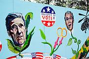 Street art work of Kerry and Bush at Millennium Park.  Chicago Illinois USA