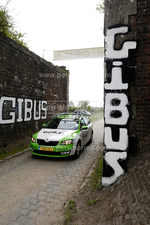 France, April 13th 2014: A Belkin team car passes through Pont Gibus, Wallers, in advance of the riders during the 2014 edition of the Paris Roubaix cycle race.