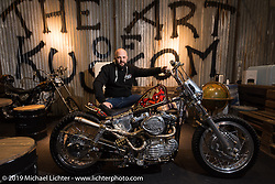 Alessio Mattiazzi of 70's Helmets with his custom 1972 Ironhead XLCH Sportster at Motor Bike Expo. Verona, Italy. Thursday January 18, 2018. Photography ©2018 Michael Lichter.