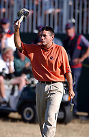 Ben Curtis (USA) doffs his cap to the 18th Green Galleries after completing his winning round. The Open Golf Championship, Royal St.Georges, Sandwich, Day 4, 20/07/2003. Credit: Colorsport / Matthew Impey DIGITAL FILE ONLY