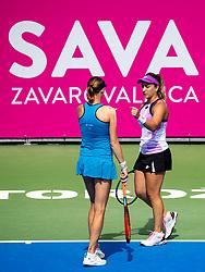 PORTOROZ, SLOVENIA - SEPTEMBER 18: Renata Voracova of Czech Republic and Danka Kovinic of Montenegro during the Semifinals of WTA 250 Zavarovalnica Sava Portoroz at SRC Marina, on September 18, 2021 in Portoroz / Portorose, Slovenia. Photo by Matic Klansek Velej / Sportida