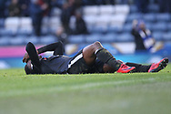 GOAL Kgosi Nthle lies on his back after deflecting Bradley Dack's shot into his own net during the EFL Sky Bet League 1 match between Blackburn Rovers and Rochdale at Ewood Park, Blackburn, England on 26 December 2017. Photo by Daniel Youngs.