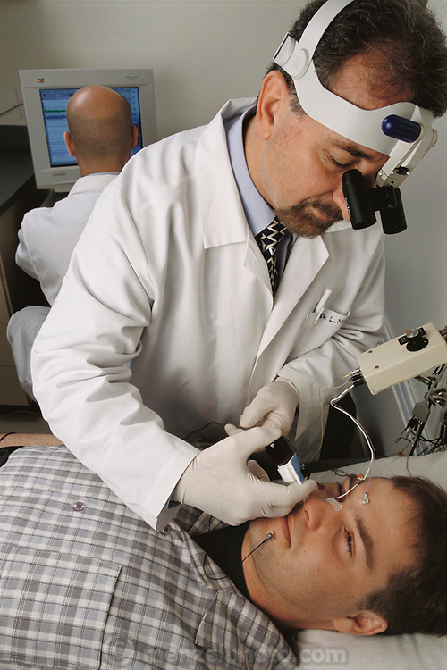 Pherin Pharmaceutical in Mountain View, California. Louis Monti, MD, PhD performing vomero nasal organ research (pheromones). MODEL RELEASED (2002)