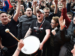 St Mirren fans celebrate after the final whistle after their team clinched the Scottish Championship during the Ladbrokes Scottish Championship match at the Paisley 2021 Stadium.
