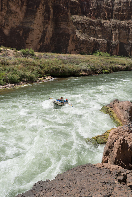 Raft running Lava Falls on the Colorado River in the Grand Canyon, Arizona.