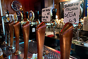 A selection of beers on tap, Macche bar, Trastevere, Rome, Italy.