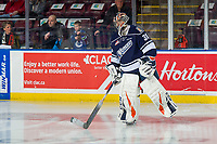 KELOWNA, BC - FEBRUARY 02:  Dylan Garand #30 of the Kamloops Blazers warms up on the ice against the Kelowna Rockets at Prospera Place on February 2, 2019 in Kelowna, Canada. (Photo by Marissa Baecker/Getty Images)