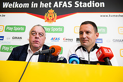 November 2, 2017 - Mechelen, BELGIUM - Mechelen's chairman Johan Timmermans and Mechelen's new head coach Aleksandar Jankovic pictured during a press conference of Belgian first division soccer team KV Mechelen, in Mechelen, Thursday 02 November 2017, to present their new head coach. Last week the club dismissed coach Ferrera and appointed Serbian Jankovic for a second stint, he already coached the club from May 2014 to September 2016. BELGA PHOTO JASPER JACOBS (Credit Image: © Jasper Jacobs/Belga via ZUMA Press)