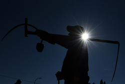 August 19, 2017 - Nepas, Soria, Spain - A man carries a scythe during the VI Harvest festival in the small village of Nepas, north of Spain. (Credit Image: © Jorge Sanz/Pacific Press via ZUMA Wire)