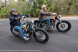 Bryan Lane (L) of Waxhaw, NC riding his custom 1947 custom Harley-Davidson Knucklehead bobber alongside Eric Stein on his 1964 custom Harley-Davidson Panhead in Tomoka State Park during Daytona Beach Bike Week. FL. USA. Tuesday, March 14, 2017. Photography ©2017 Michael Lichter.