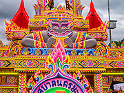 31 OCTOBER 2012 - YALA, YALA, THAILAND:  An Ok Phansa float from a procession to Yala. The float is dedicated to Hanuman, the Monkey God and a key figure in the Ramakien, the Thai version of the Ramayana. Ok Phansa marks the end of the Buddhist 'Lent' and falls on the full moon of the eleventh lunar month (October). It's a day of joyful celebration and merit-making. For the members of Wat Kohwai, in Yarang District of Pattani, it was a even more special because it was the first time in eight years they've been able to celebrate Ok Phansa. The Buddhist community is surrounded by Muslim villages and it's been too dangerous to hold the boisterous celebration because of the Muslim insurgency that is very active in this area. This the year the Thai army sent a special group of soldiers to secure the village and accompany the villagers on their procession to Yala, a city  about 20 miles away.  PHOTO BY JACK KURTZ