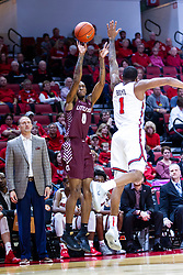 NORMAL, IL - November 10: Ben Coupet Jr. defended by Dedric Boyd during a college basketball game between the ISU Redbirds and the Little Rock Trojans on November 10 2019 at Redbird Arena in Normal, IL. (Photo by Alan Look)