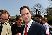 Leader of the British Liberal Democrat Party Nick Clegg is interviewed by reporters at a church in South West London during the British Election Campaign.