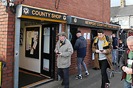 Fans purchase their tickets ahead of k/o.The Emirates FA Cup, 2nd round match, Newport County v Cambridge United at Rodney Parade in Newport, South Wales on Sunday 3rd December 2017.<br /> pic by Andrew Orchard,  Andrew Orchard sports photography.