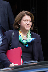 Maria Miller leaves Downing St. Maria Miller the Secretary of State for Culture, Media and Sport leaves the cabinet meeting after questions were raised about capital gains tax on sale of Wimbledon home at 10 Downing Street, London, United Kingdom. Tuesday, 8th April 2014. Picture by Daniel Leal-Olivas / i-Images<br /> File photo -  Secretary of State for Culture, Media and Sport Maria Miller resigns following expenses allegations. Pictured filed Wednesday 9th April 2014.