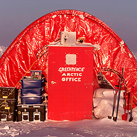 5/3/00 Ice Camp Sirius Arctic Sea Ice Alaska.Front view of the office Weatherport at the Greenpeace Ice Camp Sirius.Pic Steve Morgan