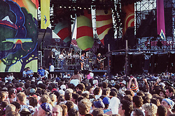 The Grateful Dead at Foxboro Stadium 2 July 1989. 25th Anniversary Tour. Audience photo taken at dusk.