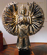The thousand-armed bodhisattva Avalokitesvara a major Bodhisattva in Mahayana Buddhism. Sculpture, wood (material) Production site: China , Five Dynasties (907-960) . Wood and gilt