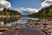 USA, Oregon, Lake Oswego, George Rogers Park, the Willamette River. Digital Composite, HDR