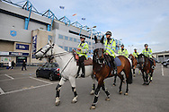 Police on horses patrol outside The Den Stadium before k/o. Skybet football league one play off semi final 2nd leg match, Millwall v Bradford city at The New Den in London on Friday 20th May 2016.<br /> pic by John Patrick Fletcher, Andrew Orchard sports photography.