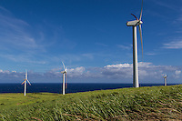 Hawi Wind Farm at Upolu Point, the northernmost tip of Hawaii Big Island on the Kohala Coast.   The wind farm is made up of sixteen 660 kW wind turbines and is able to produce 10.56 MW.  HELCO bought the farm and has been operated by Hawi Renewable Development on behalf of Hawaii Electric Light Company.  Hawi Wind Farm was the first such development of wind energy in Hawaii.