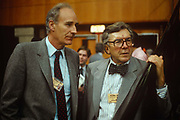 Veteran political BBC TV Broadcasters, Peter Snow And Sir Robin Day listen to speeches during the 1989 Labour Conference in September 1989 in Brighton, England.