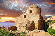 Medieval Byzantine Orthodox Church of Monemvasia (  ),   Peloponnese, Greece ..<br /> <br /> Visit our GREEK HISTORIC PLACES PHOTO COLLECTIONS for more photos to download or buy as wall art prints https://funkystock.photoshelter.com/gallery-collection/Pictures-Images-of-Greece-Photos-of-Greek-Historic-Landmark-Sites/C0000w6e8OkknEb8 <br /> .<br /> <br /> Visit our MEDIEVAL PHOTO COLLECTIONS for more   photos  to download or buy as prints https://funkystock.photoshelter.com/gallery-collection/Medieval-Middle-Ages-Historic-Places-Arcaeological-Sites-Pictures-Images-of/C0000B5ZA54_WD0s