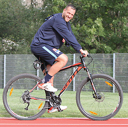 04.08.2014, Athletic Area, Schladming, AUT, Hertha BSC, im Bild Julian Schieber (Hertha BSC, #16) unterwegs mit einem Mountainbike // during a training session of the German Bundesliga Club Hertha BSC at the Athletic Area, Austria on 2014/08/04. EXPA Pictures © 2014, PhotoCredit: EXPA/ Martin Huber