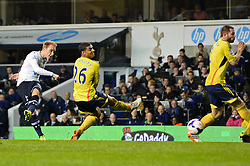 Tottenham's midfielder Christian Eriksen scores a goal  - Photo mandatory by-line: Mitchell Gunn/JMP - Tel: Mobile: 07966 386802 07/04/2014 - SPORT - FOOTBALL - White Hart Lane - London - Tottenham Hotspur v Sunderland - Premier League