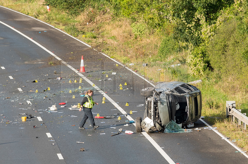 © Licensed to London News Pictures; 24/09/2020; M4, South Gloucestershire, UK. Emergency services at work after the M4 motorway was shut in both directions after a car crashed and overturned during the night. News on casualties has not been released. Emergency services say two serious accidents on the M4 have caused the motorway to be shut and it may remain shut all morning, and have been long delays on diversion routes. Photo credit: Simon Chapman/LNP.