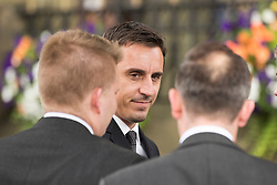 © Licensed to London News Pictures. 27/08/2015. Bury, UK.  Picture shows Gary Neville. The funeral of Neville Neville father of footballers Gary & Phil Neville & England net ball coach Tracey has taken place today at Bury Parish church. Neville died in Australia after being taken ill on a visit to support his daughter  Tracey.  Photo credit: Andrew McCaren/LNP