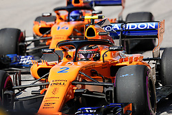 October 21, 2018 - Austin, TX, U.S. - AUSTIN, TX - OCTOBER 21: McLaren driver Stoffel Vandoorne (2) of Belgium and McClaren driver Fernando Alonso (14) of Spain wait to drive onto COTA track prior to the F1 United States Grand Prix on October 21, 2018, at Circuit of the Americas in Austin, TX. (Photo by John Crouch/Icon Sportswire) (Credit Image: © John Crouch/Icon SMI via ZUMA Press)