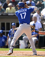 CHICAGO - SEPTEMBER 12:  Hunter Dozier #17 of the Kansas City Royals bats against the Chicago White Sox on September 12, 2019 at Guaranteed Rate Field in Chicago, Illinois.  (Photo by Ron Vesely)  Subject:   Hunter Dozier