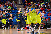 The Dallas Wings huddle up during a timeout against the Connecticut Sun during a WNBA preseason game in Arlington, Texas on May 8, 2016.  (Cooper Neill for The New York Times)