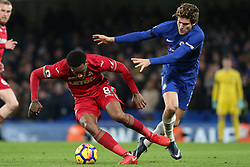 29 November 2017 - Premier League Football - Chelsea v Swansea City - Leroy Fer of Swansea pulls away from Marcos Alonso of Chelsea - Photo: Charlotte Wilson / Offside